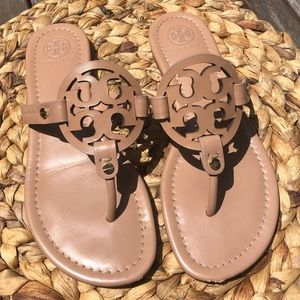 Tory Burch Nude Leather Miller Sandals 7